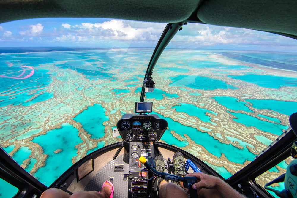 Helicopter Flight over Great Barrier Reef